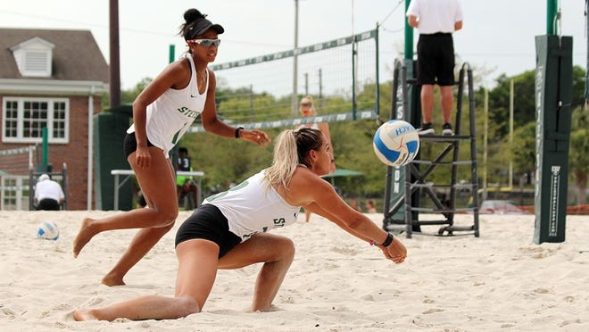 Stetson's Ana Costa, left, and Carly Perales were named the ASUN Conference's Beach Volleyball Pair of the Year for 2021.