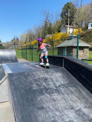 Bella, the six-year old granddaughter of Charlene and Michael Shevlin of Hawley, and the daughter of the late Keri-Ann Shevlin, enjoyed the Hawley Skate Park recently.