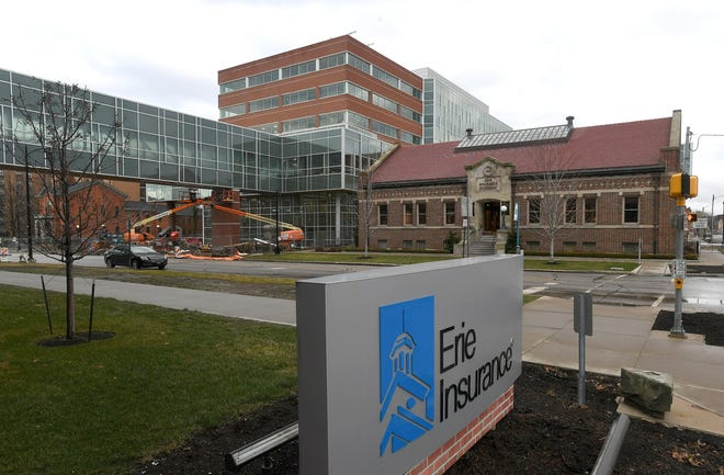 New Erie Insurance building, now complete, is shown under construction in December of 2020.