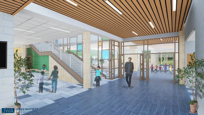 This conceptual image shows the interior of the Gardner elementary school.