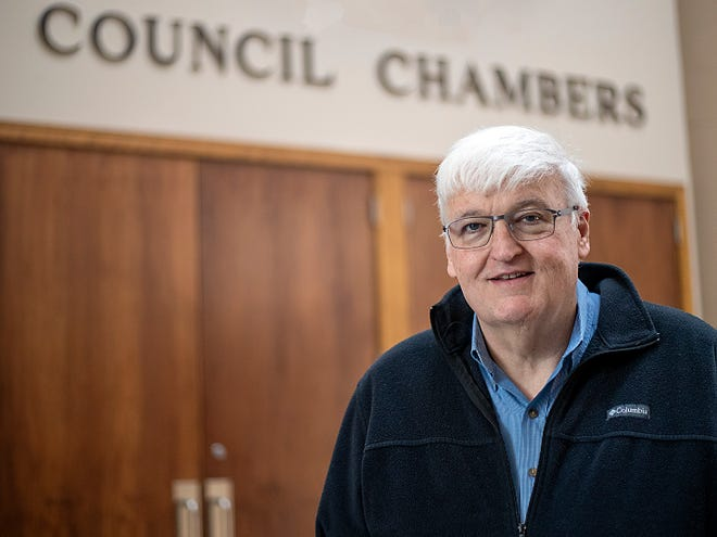 Galesburg Mayor John Pritchard poses for a photo inside of City Hall on Thursday, April 29, 2021.
