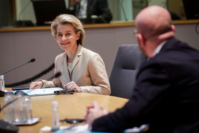 European Commission President Ursula von der Leyen, left, and European Council President Charles Michel participate in a video conference meeting with Turkey's President Recep Tayyip Erdogan in March.