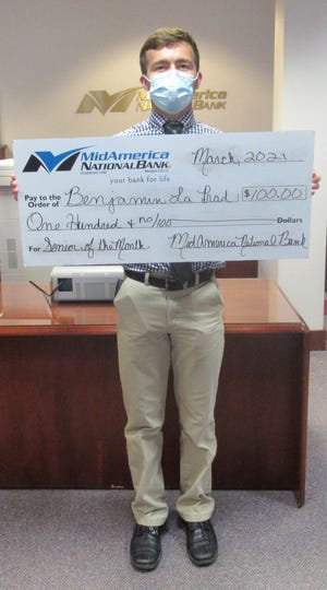 Benjamin La Prad was chosen as the MidAmerica Senior of the Month for March.