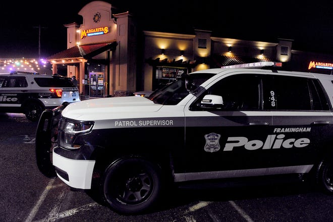 Framingham police responded to reports of a shooting at Margaritas Mexican Restaurant on Cochituate Road (Rte. 30) in Framingham, April 29, 2021. Two men face charges.