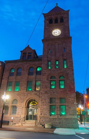 Businesses in Monroe County and the Poconos can display green lights throughout May to show support for Mental Health Awareness Month, as seen here at the Carbon County Courthouse.