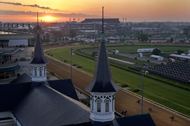The famous twin spires that rise above the grandstand at Churchill Downs have been recreated at Palm Beach Kennel Club for Saturday's simulcast of the Kentucky Derby.