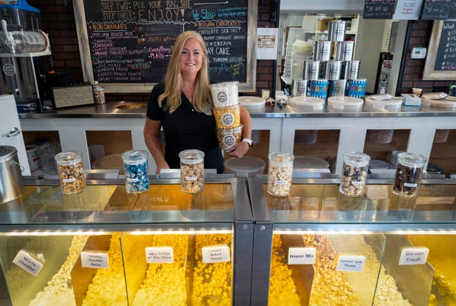 Jerri Witt, owner of The Original Popcorn House, in downtown Delray Beach, Florida on April 30, 2021.