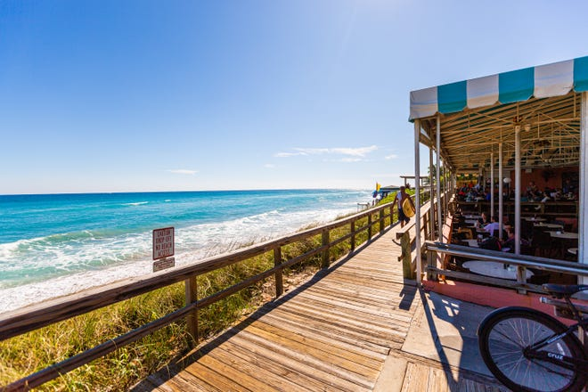 The Dune Deck Cafe is located right on the beach in Lantana.