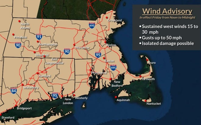 A wind advisory goes into effect at noon. Gusts could reach 50 mph.