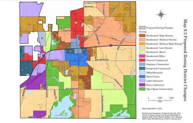 A page of Brimfield's comprehensive plan shows proposed zoning changes in the township.