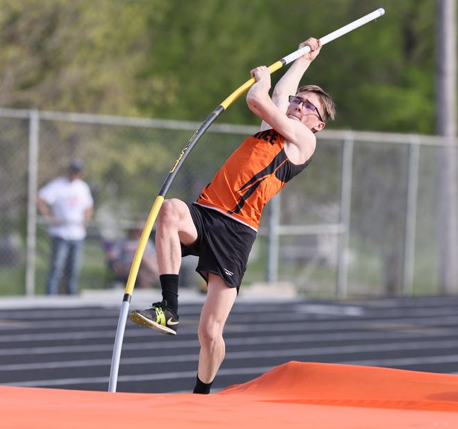Kewanee's Xander Gruszeczka finished second in the pole vault, but was first in the 300 hurdles and the triple jump in Tuesday's track meet.