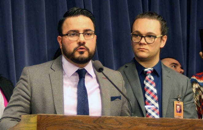 Sen. Omar Aquino, D-Chicago, is pictured in a file photo at the Illinois State Capitol in 2019.