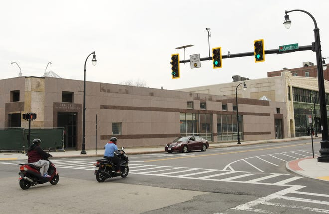 WORCESTER - The Registry of Motor Vehicles building is at the corner of Main Street and Myrtle Street Wednesday, April 28, 2021.