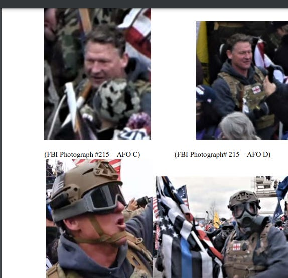 Photos issued by the FBI show that retired Sgt. 1st Class Jeffrey McKellop, a former 3rd Special Forces Group soldier, attended the Jan. 6 riot in Washington D.C. Attorneys for McKellop question whether he is depicted in some of the photos.