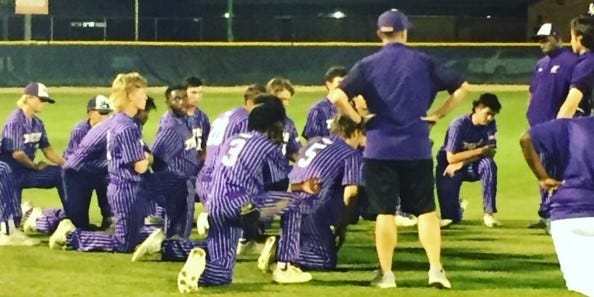 Union County High's baseball team huddles after a stunning loss Thursday in the district final in Lake Butler.