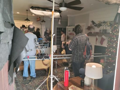"""Movie magic turned an April morning into a Christmas evening as crew prepared for a scene for """"Survivor Girls,"""" a horror-comedy feature filming in the Gadsden area."""