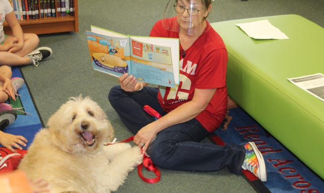 Murphy the therapy dog participates in story time with students at West Bay Elementary School.