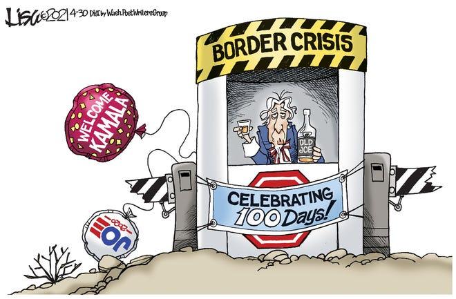 Uncle Sam commemorates 100 days of border crisis under Biden -- with a stiff drink.