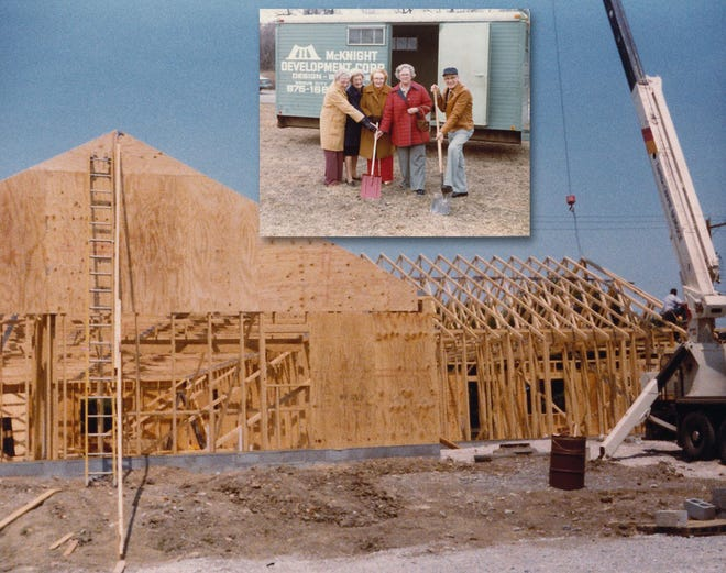 The framing for the Grandview Heights Senior Center at Goodale Boulevard and Grandview Avenue was nearly completed, as the trusses were installed on the new building that opened in 1982.
