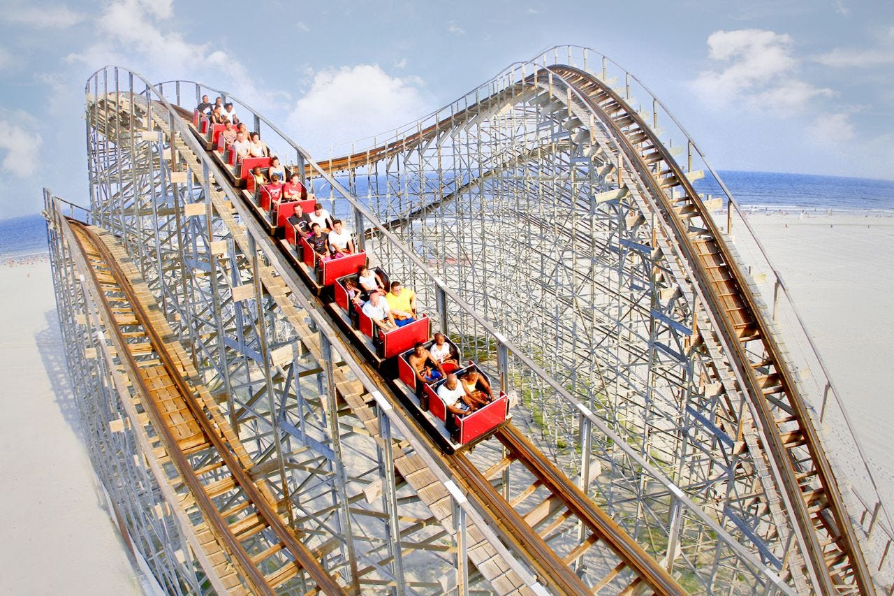 The wooden Great White coaster at Morey's Piers in Wildwood celebrates its 25th anniversary this year.