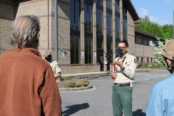 James Melonas, Forest Supervisor of the National Forests in North Carolina, speaks to a group April 30, 2021 about the forest service's Southside Project.