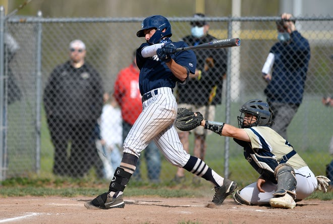 St. Augustine's Ryan Weingartner (2) swings at a pitch during a game against Holy Spirit on Friday, April 30, 2021 in Richland, NJ. The Hermits won, 3-2.