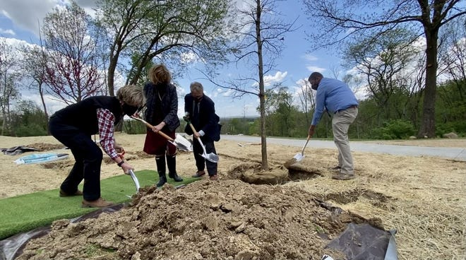 Mary Mertz, the director of the Ohio Department of Natural Resources, and Fran and Mike DeWine assist in planting the first COVID-19 memorial tree at Great Seal State Park in Chillicothe on April 30, 2021.
