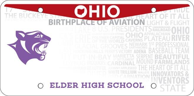 Elder High School's new Ohio license plate.