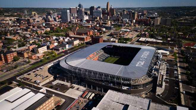 An aerial view of FC Cincinnati's new TQL Stadium in the West End neighborhood of Cincinnati on Friday, April 30, 2021. The brand new 26,000 seat stadium will host the team's first home game on Sunday, May 16. (Sam Greene & Albert Cesare/The Enquirer)