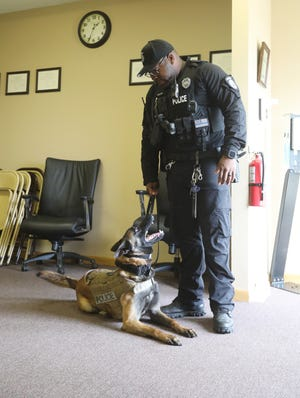 Officer Laurice Mans and his K-9 partner Stryder. Stryder joined the West Lafayette Police Department earlier this year.