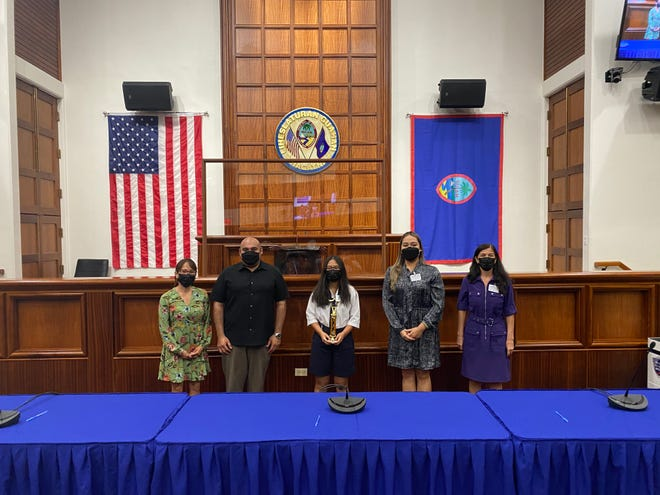 lla Marie Cepeda of St. Anthony Catholic School wins the middle school portion of the Annual Guam Youth Month Oratorical Contest. Pictured, from left: Department of Youth Affairs Director Melanie Brennan, Lt. Gov. Joshua Tenorio, Ella Marie Cepeda, Senator Amanda L. Shelton, and Therese M. Terlaje, speaker of the 36th Guam Legislature.