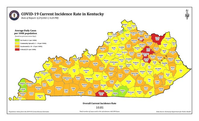 The COVID-19 current incidence rate map for Kentucky as of Thursday, April 29.