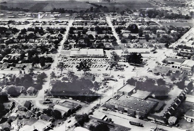 An undated aerial photo of Lafayette's Four Corners shows the intersection of Cameron Street and University Avenue, which became a dividing line for the city's Black and white neighborhoods through decades of racist housing policies that perpetuated a the city's racial wealth gap into present day.