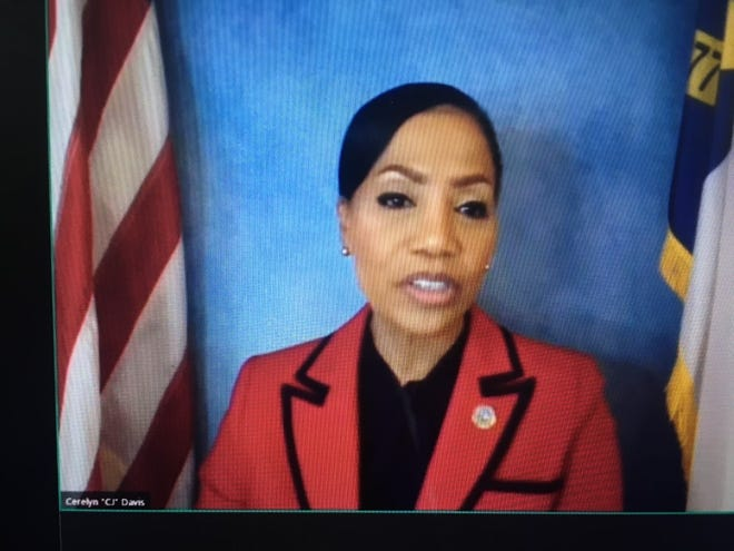 """Cerelyn """"C. J."""" Davis speaks during a video question and answer session on Friday, April 30, 2021."""