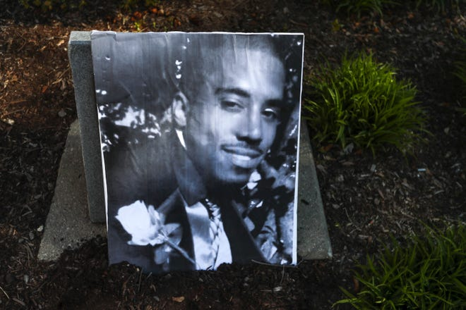 A picture of Dontre Hamilton during the ceremony remembering and celebrating his life.