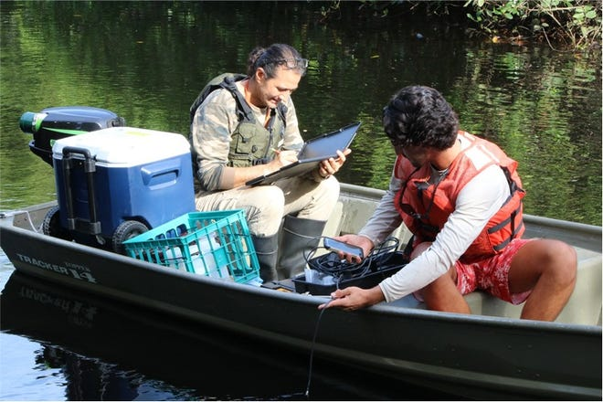Florida Gulf Coast University professor Serge Thomas helps a student take water samples of the Estero River in 2019.