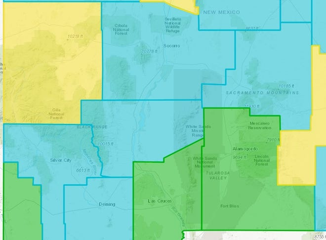 Section of New Mexico's county-by-county color-coded ratings of COVID-19 risk and public health restrictions, showing Yellow, Green and Turquoise counties in the state's southwestern corner, as seen on Friday, April 30, 2021.
