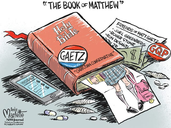 Marlette cartoon: The Book of Matthew (Gaetz)