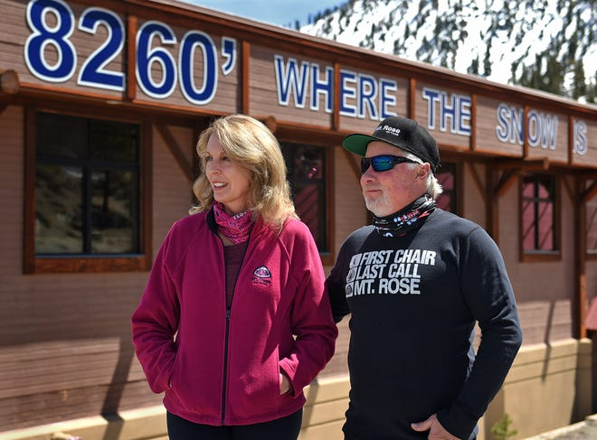 Rick and Christina Moses stand at Mt. Rose Ski Tahoe on Firday April 30, 2021.