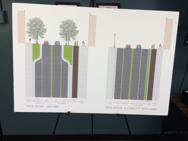 Designs for Phase 2 of the Loop bike path project were presented Friday for East Main Street (left) and the Depot District.