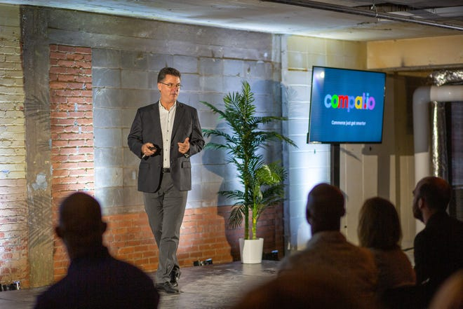 Timothy Baynes, CEO of Compatio, gives a presentation on his Springfield-based ecommerce startup while participating in the 2019 edition of Missouri State University's eFactory Accelerator program for new companies.