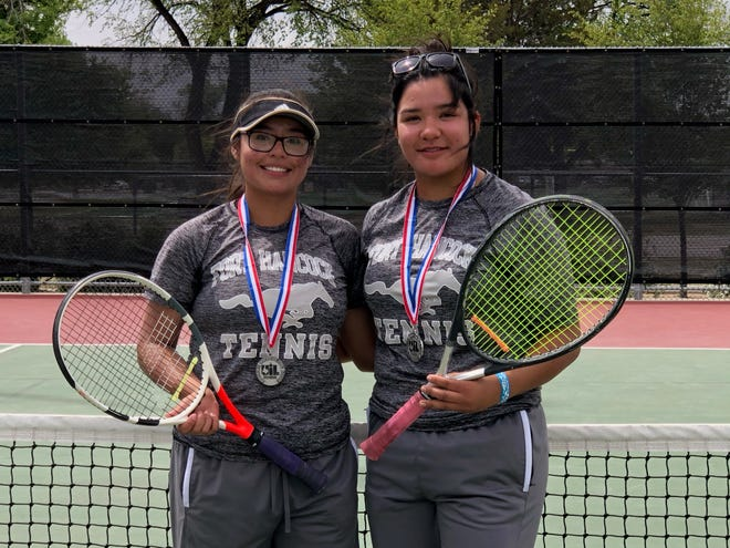 The Fort Hancock girls doubles team of Julissa Herrera, left, and Brianna Estrada have qualified for the Class 2A State Tennis Tournament in San Antonio on May 20-21. Herrera and Estrada finished second at the Region 1-2A tournament to qualify.