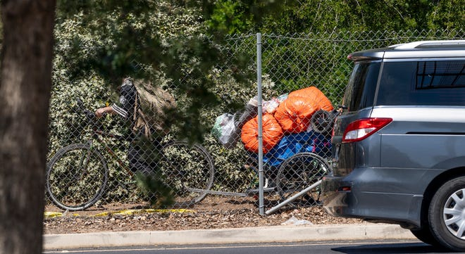 A homeless encampment along Highway 198 in Tulare County.