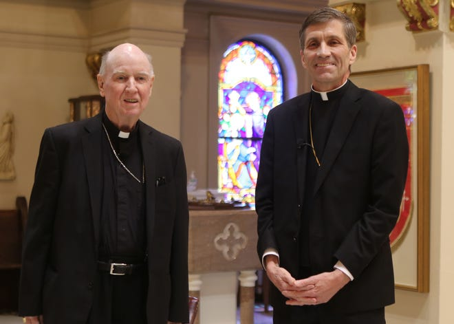 The Rev. Francis Malooly (left), the bishop of the Diocese of Wilmington, is retiring later this year. Monsignor William Koenig (right) was named as his replacement on Friday, April 30, 2021.