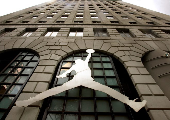 Nike's Michael Jordan image on Sept. 29, 2009, in Portland, Oregon.