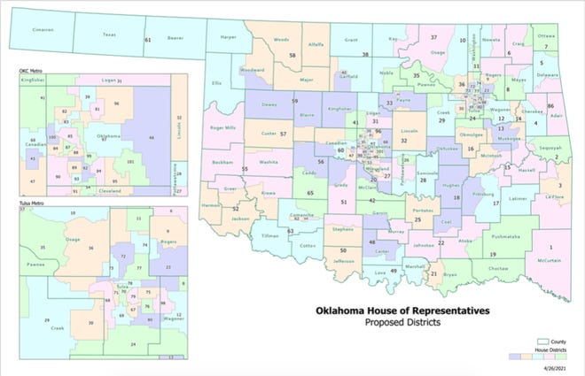 The Oklahoma House of Representatives released this proposed map of the state's 101 districts. The legislature will be voting on this map later this week.