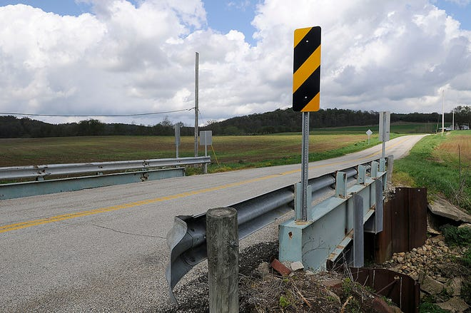 This bridge in the 800 block of County Road 2654 seen here Friday, April 30, 2021 is one of the load limit bridges in the county. TOM E. PUSKAR/TIMES-GAZETTE.COM