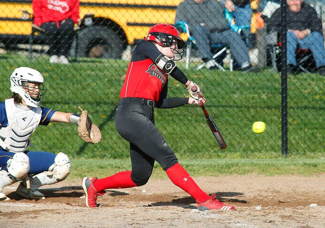 Crestview High School's Autumn Bailey (12) gets a hit during the game at Hillsdale High School on Friday, April 30, 2021.