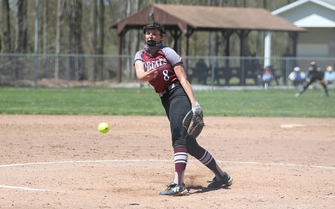 Beaver's Payton List pitches the ball during the fifth inning against the Montour Spartans Saturday afternoon at Ellis Field.