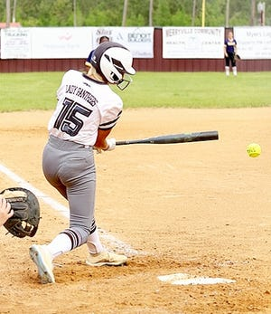 Merryville's Jenna Reeves, seen here in a game earlier this year, had a pair of hits and two RBIs in the Lady Panthers' loss to LaSalle on Thursday in the Class 1A semifinals in Sulphur